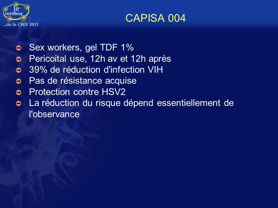 CAPISA 004 Sex workers, gel TDF 1% Pericoital use, 12h av et 12h après