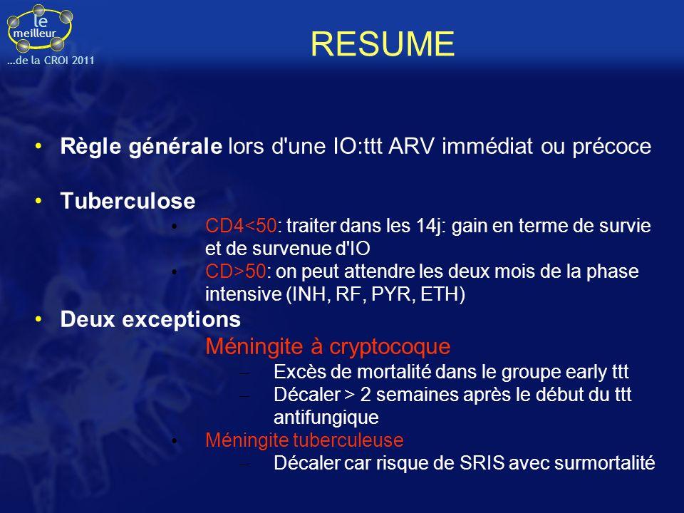 RESUME Règle générale lors d une IO:ttt ARV immédiat ou précoce