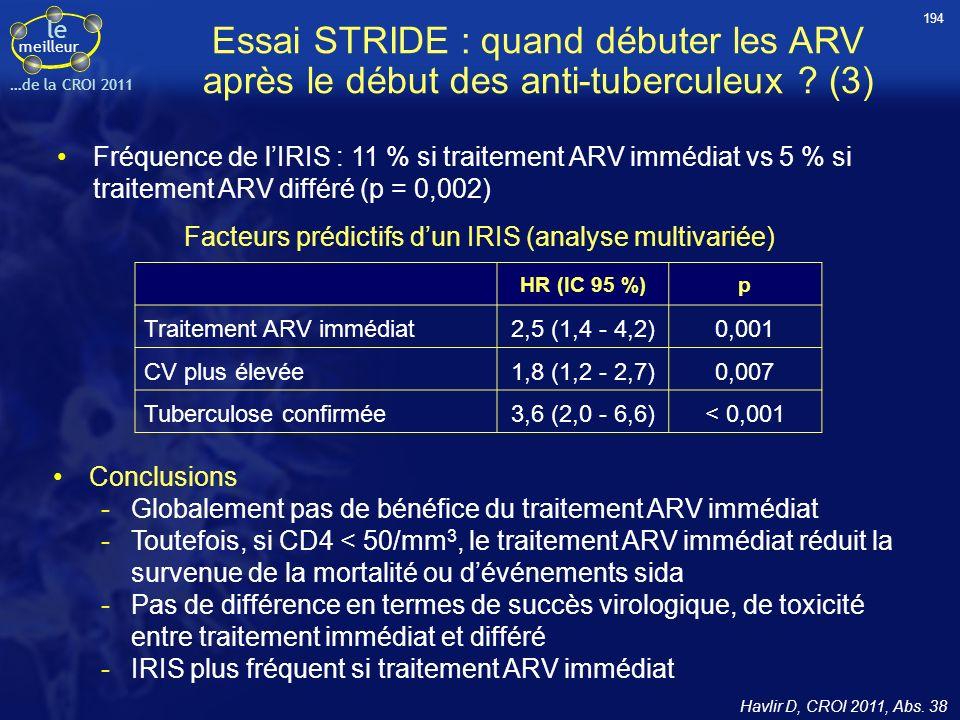 194 Essai STRIDE : quand débuter les ARV après le début des anti-tuberculeux (3)