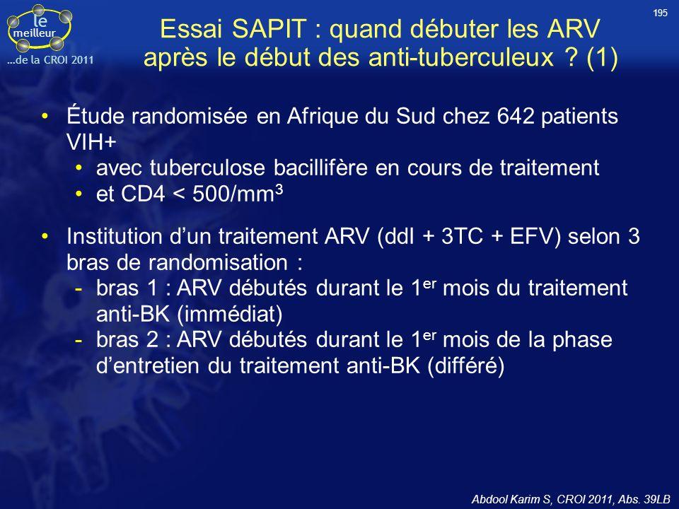 195 Essai SAPIT : quand débuter les ARV après le début des anti-tuberculeux (1) Étude randomisée en Afrique du Sud chez 642 patients VIH+