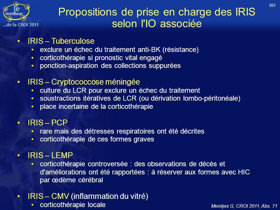 Propositions de prise en charge des IRIS selon l IO associée