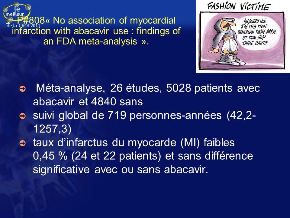 Méta-analyse, 26 études, 5028 patients avec abacavir et 4840 sans