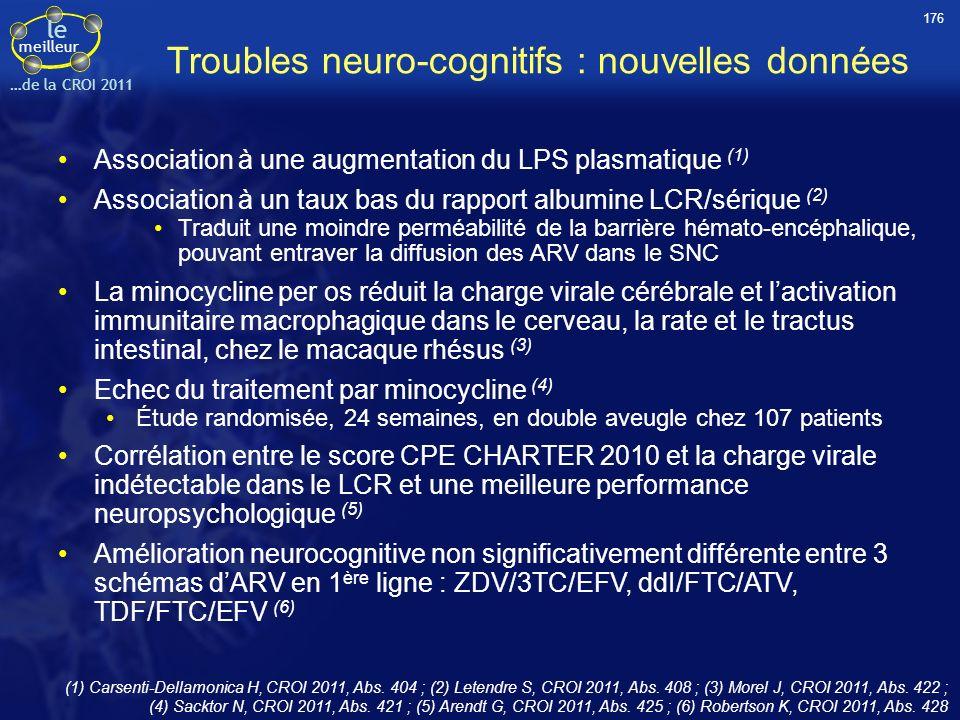 Troubles neuro-cognitifs : nouvelles données