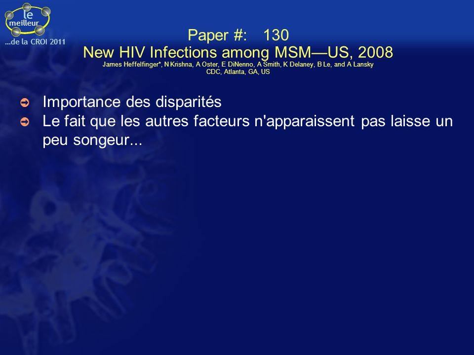 Paper #:. 130 New HIV Infections among MSM—US, 2008 James Heffelfinger