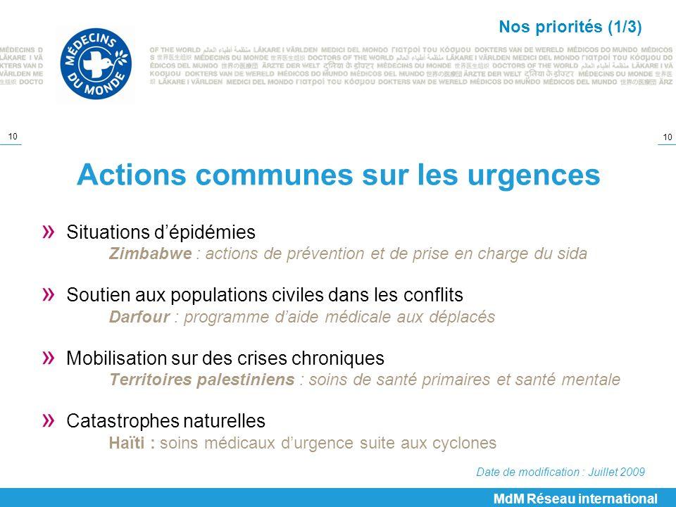 Actions communes sur les urgences