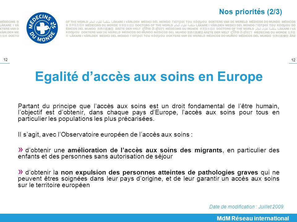 Egalité d'accès aux soins en Europe