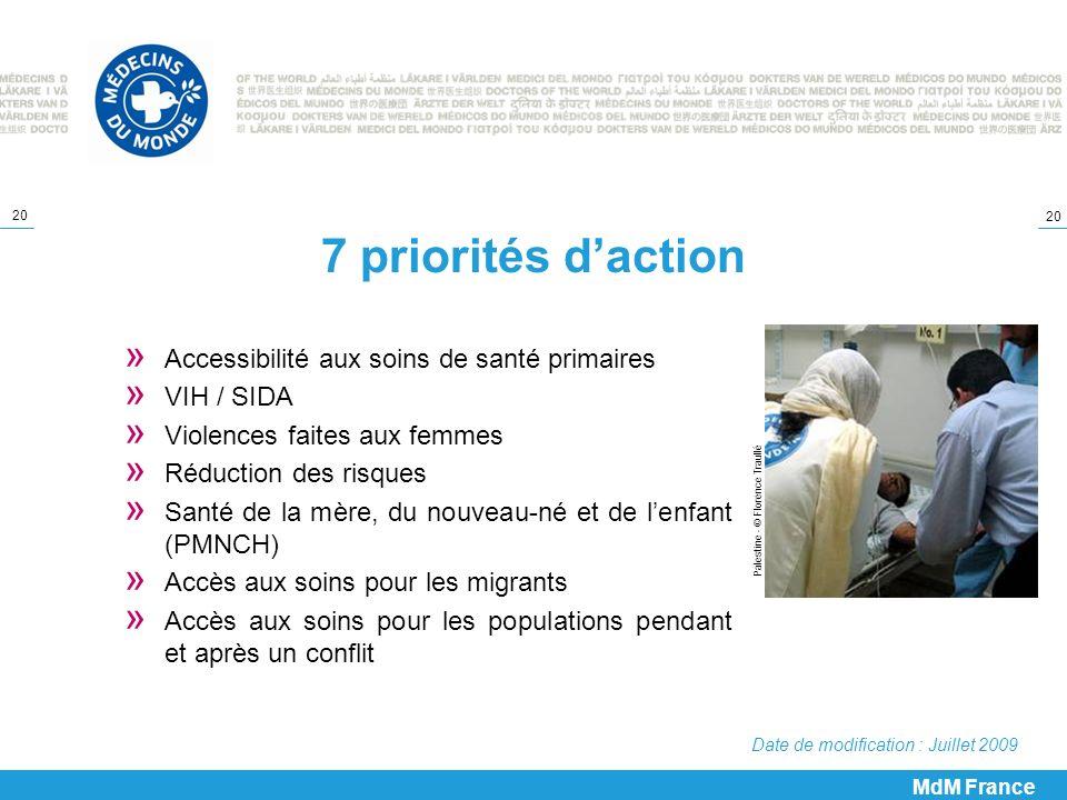 7 priorités d'action Accessibilité aux soins de santé primaires