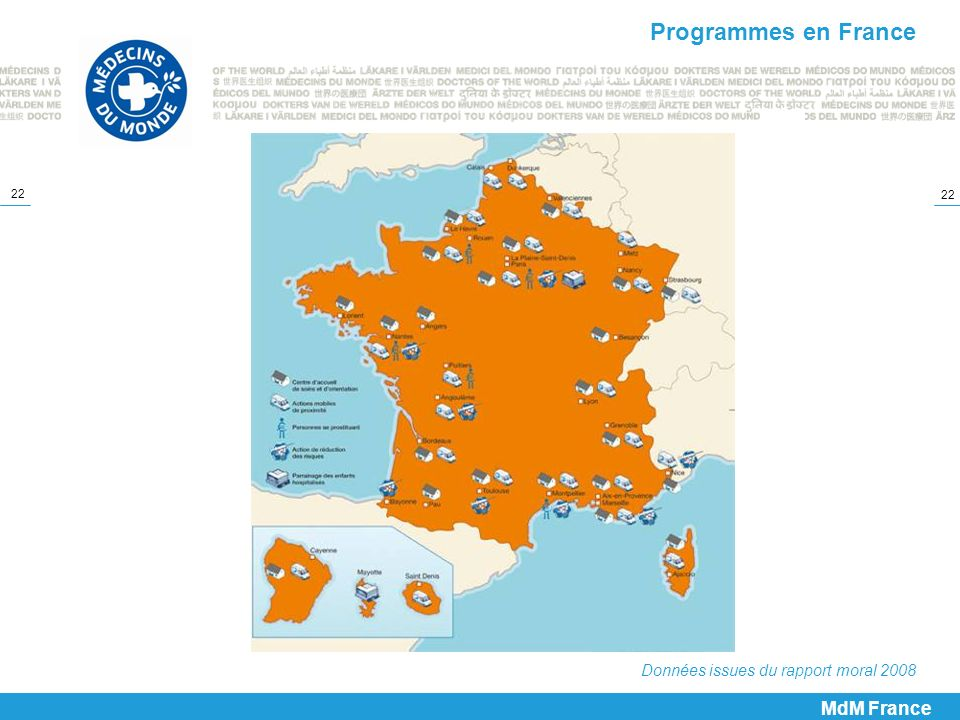 Programmes en France Données issues du rapport moral 2008 MdM France