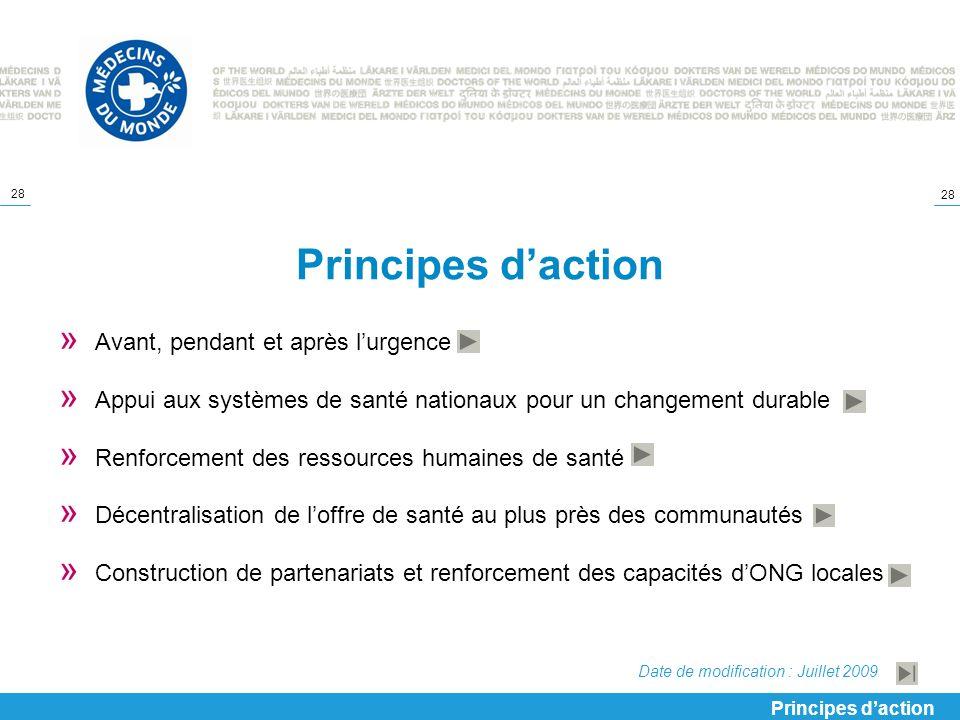 Principes d'action Avant, pendant et après l'urgence