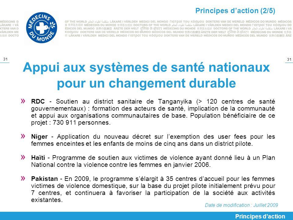Appui aux systèmes de santé nationaux pour un changement durable