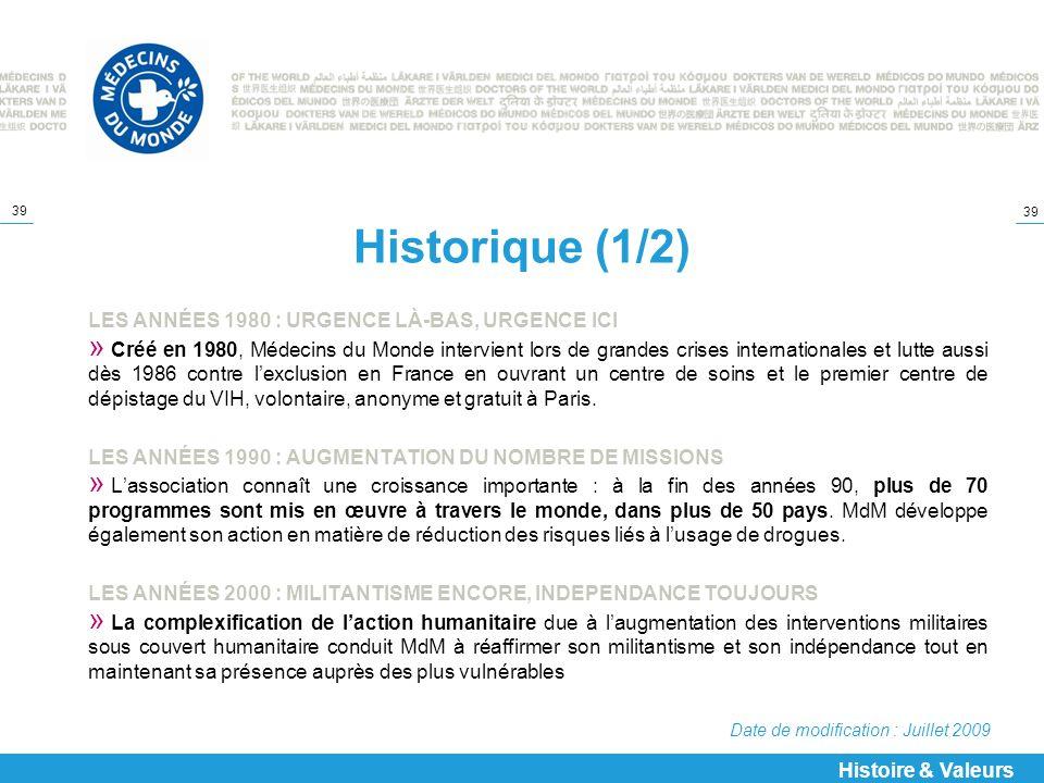Historique (1/2) LES ANNÉES 1980 : URGENCE LÀ-BAS, URGENCE ICI