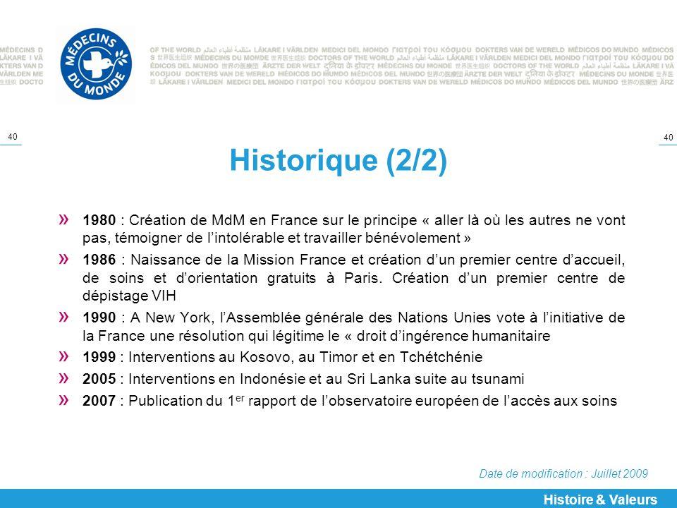 Historique (2/2)