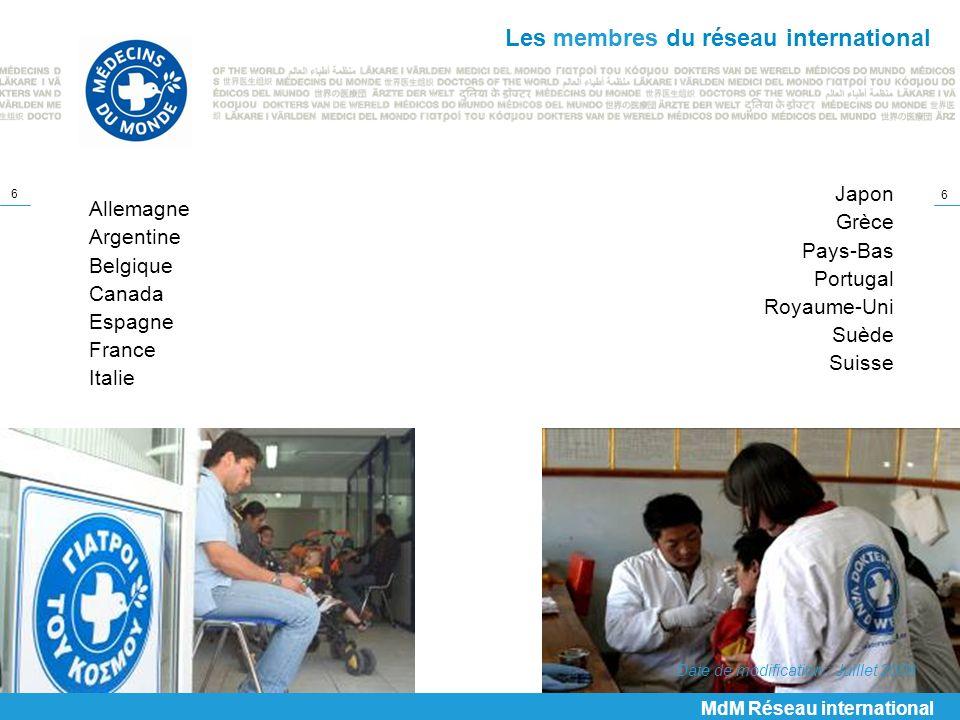 Les membres du réseau international