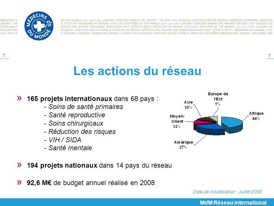 Les actions du réseau 165 projets internationaux dans 68 pays :