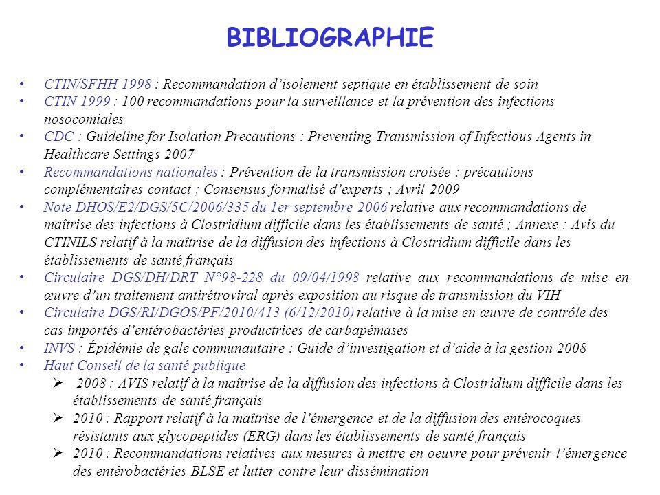 BIBLIOGRAPHIE CTIN/SFHH 1998 : Recommandation d'isolement septique en établissement de soin.