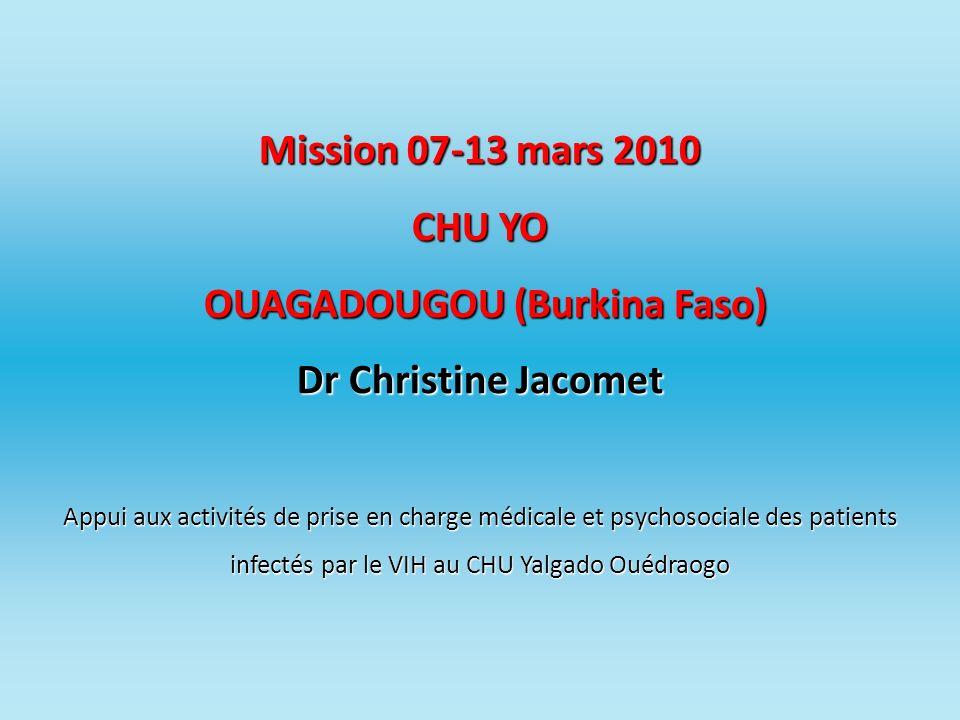 Mission 07-13 mars 2010 CHU YO OUAGADOUGOU (Burkina Faso) Dr Christine Jacomet Appui aux activités de prise en charge médicale et psychosociale des patients infectés par le VIH au CHU Yalgado Ouédraogo