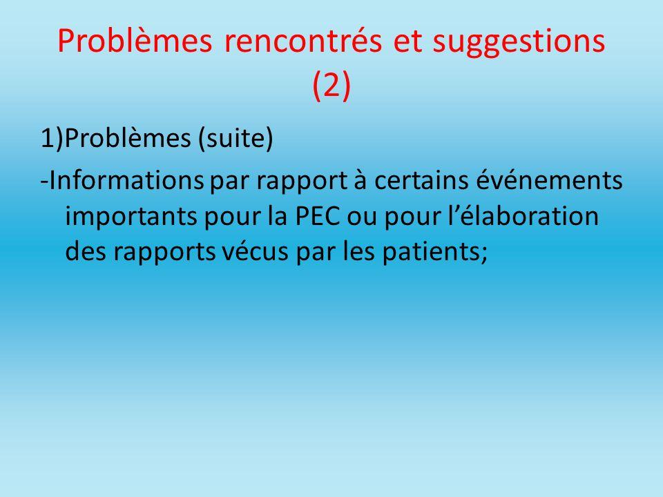 Problèmes rencontrés et suggestions (2)