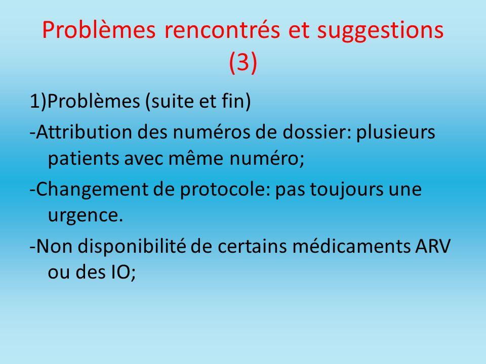 Problèmes rencontrés et suggestions (3)