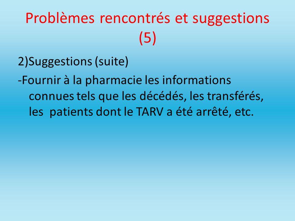 Problèmes rencontrés et suggestions (5)