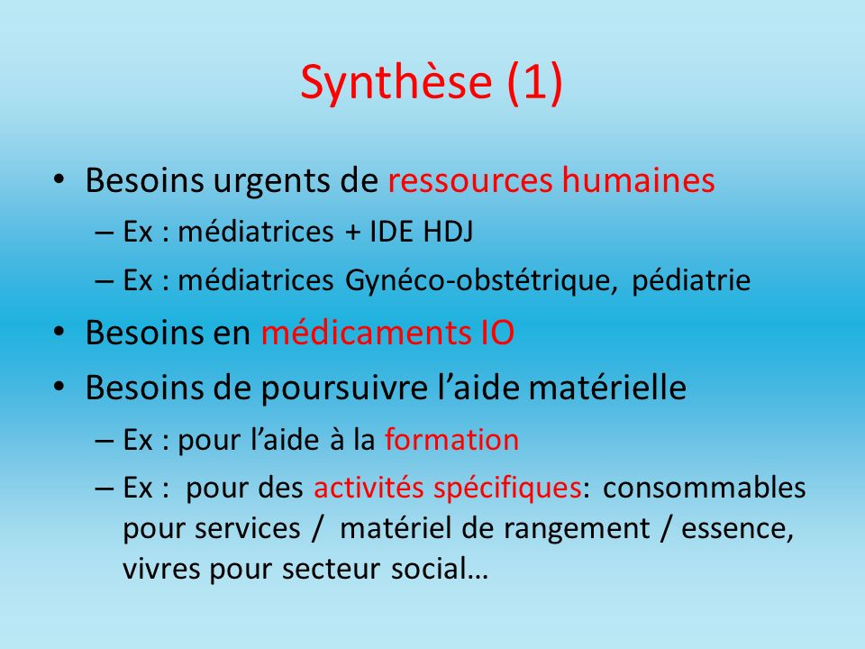 Synthèse (1) Besoins urgents de ressources humaines
