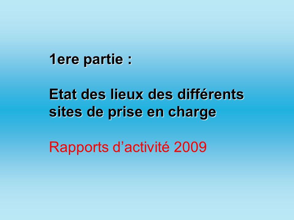 1ere partie : Etat des lieux des différents sites de prise en charge Rapports d'activité 2009
