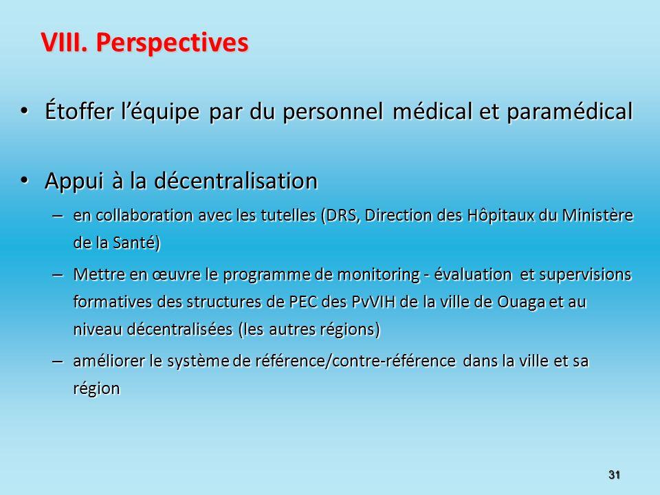 VIII. Perspectives Étoffer l'équipe par du personnel médical et paramédical. Appui à la décentralisation.