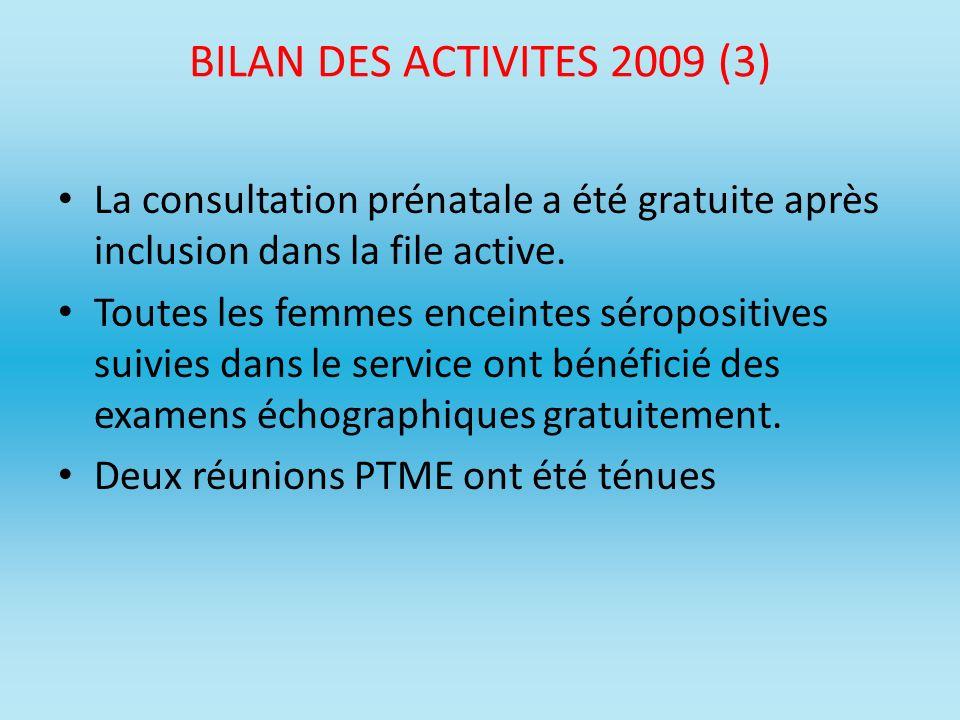 BILAN DES ACTIVITES 2009 (3) La consultation prénatale a été gratuite après inclusion dans la file active.