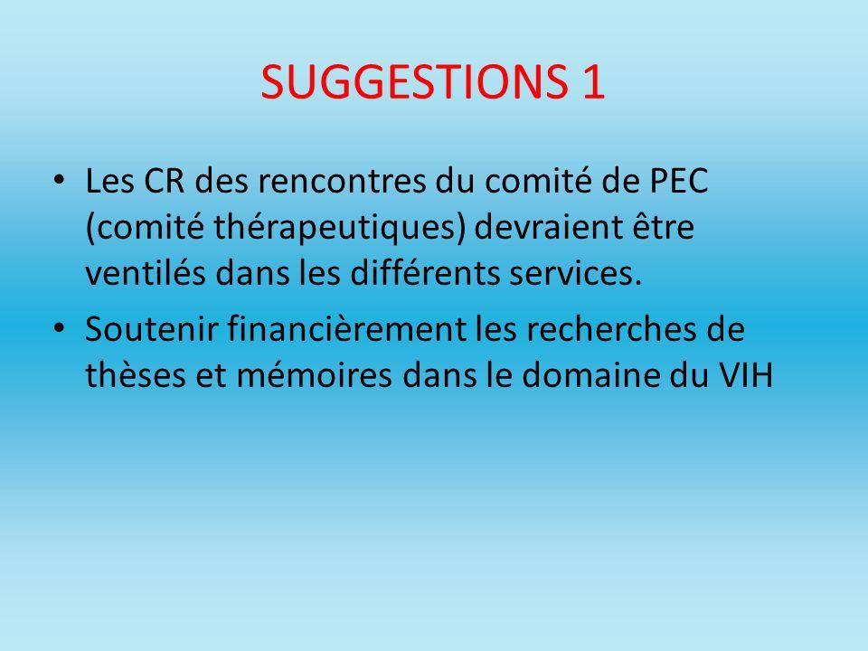 SUGGESTIONS 1 Les CR des rencontres du comité de PEC (comité thérapeutiques) devraient être ventilés dans les différents services.