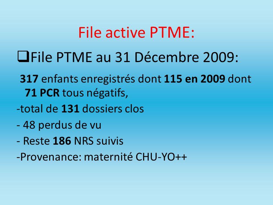 File active PTME: File PTME au 31 Décembre 2009: