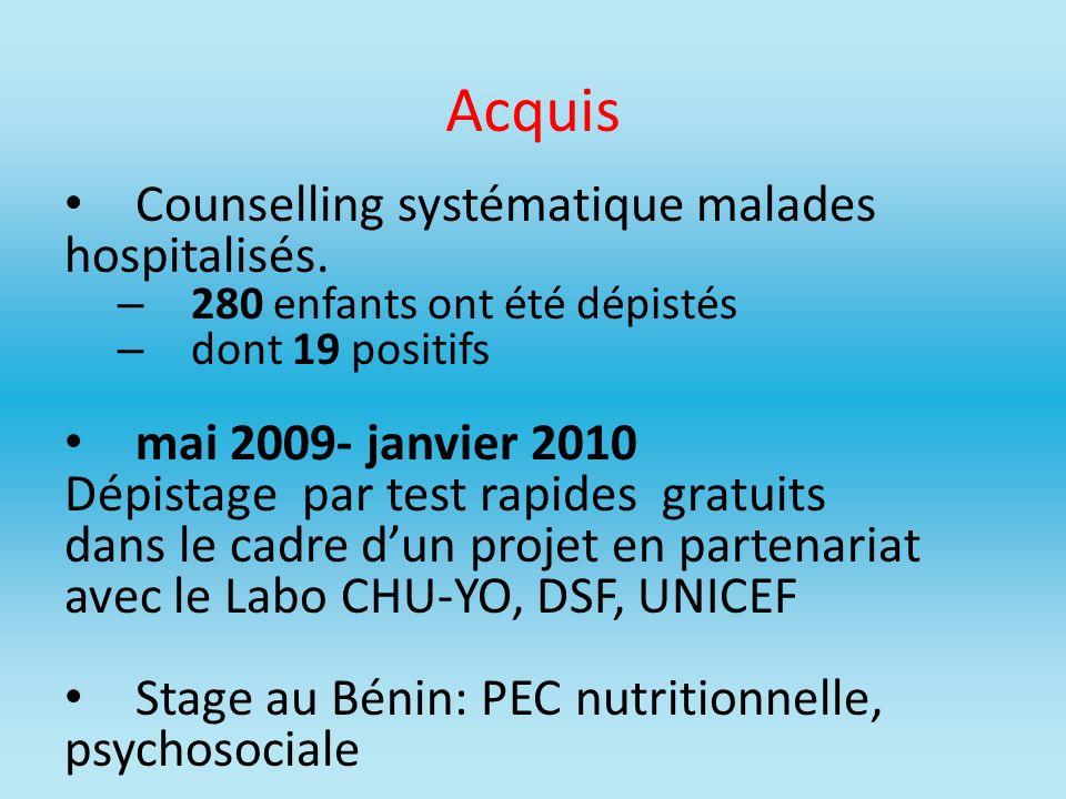 Acquis Counselling systématique malades hospitalisés.