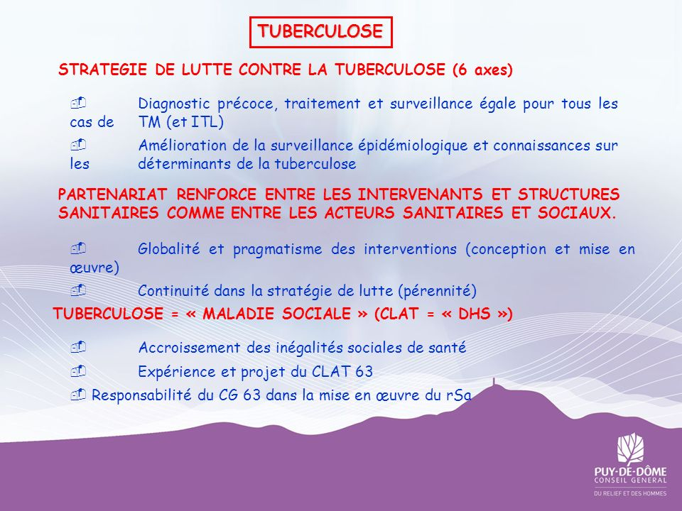 TUBERCULOSE STRATEGIE DE LUTTE CONTRE LA TUBERCULOSE (6 axes)