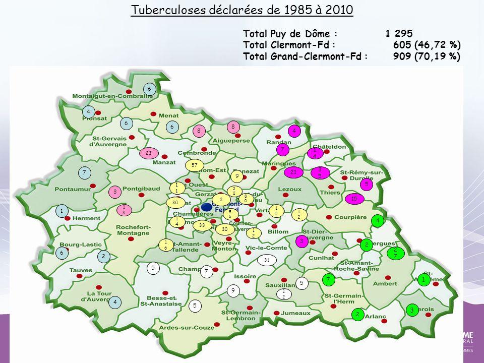 Tuberculoses déclarées de 1985 à 2010