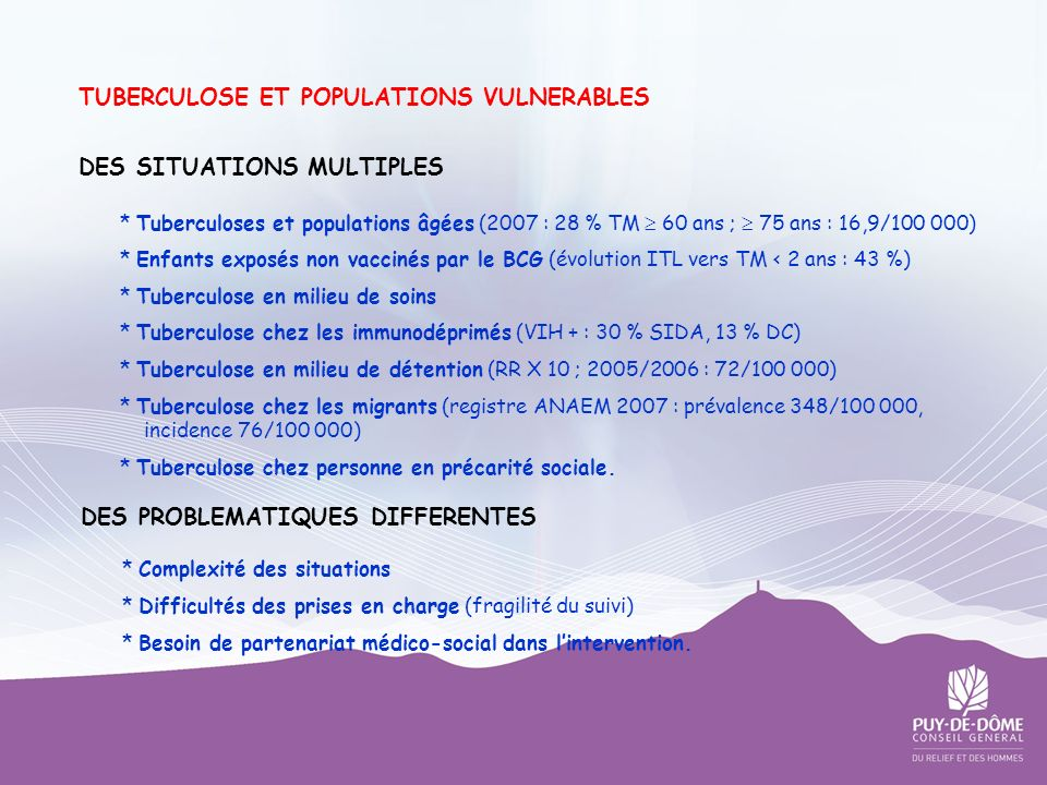 TUBERCULOSE ET POPULATIONS VULNERABLES