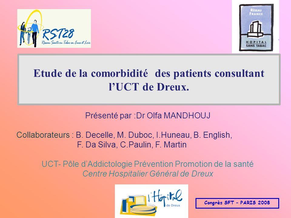 Etude de la comorbidité des patients consultant l'UCT de Dreux.