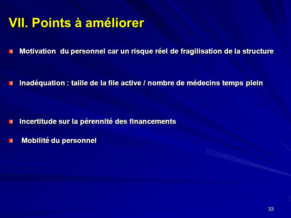 VII. Points à améliorer Motivation du personnel car un risque réel de fragilisation de la structure.