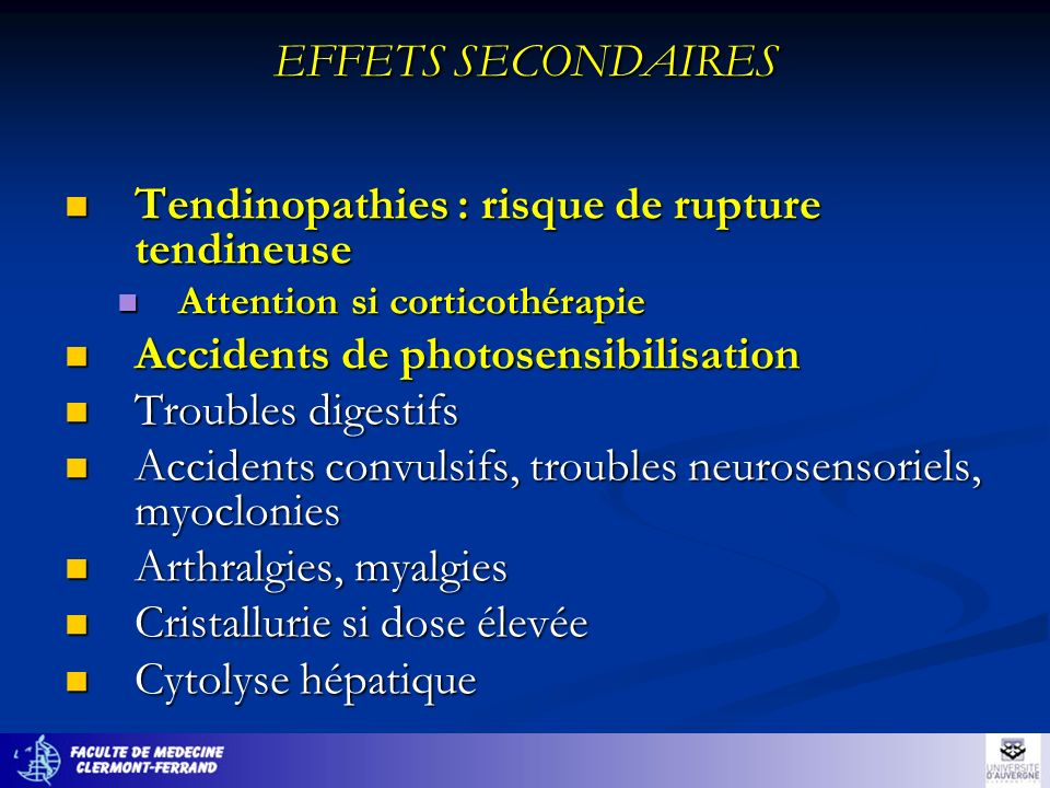 Tendinopathies : risque de rupture tendineuse