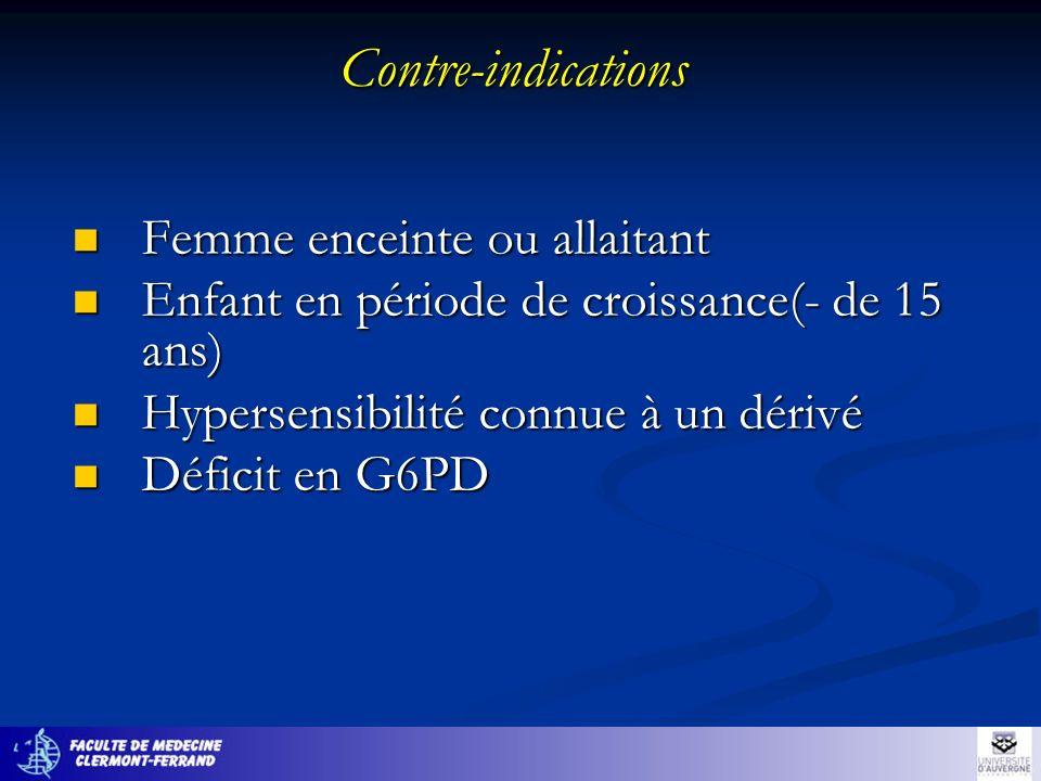 Contre-indications Femme enceinte ou allaitant