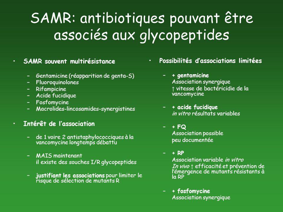 SAMR: antibiotiques pouvant être associés aux glycopeptides