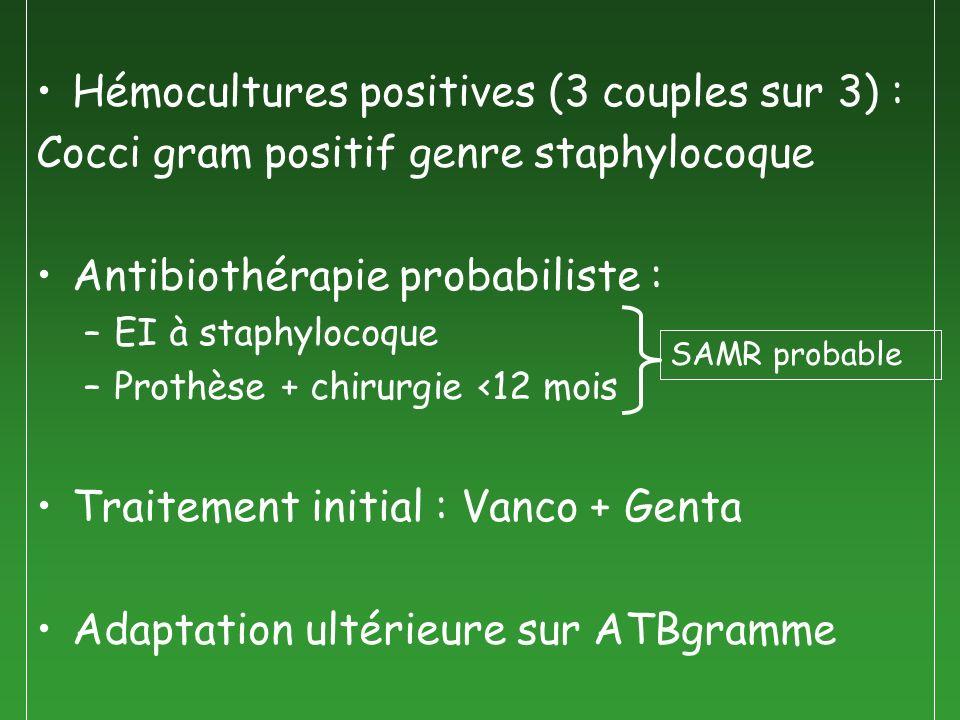 Hémocultures positives (3 couples sur 3) :