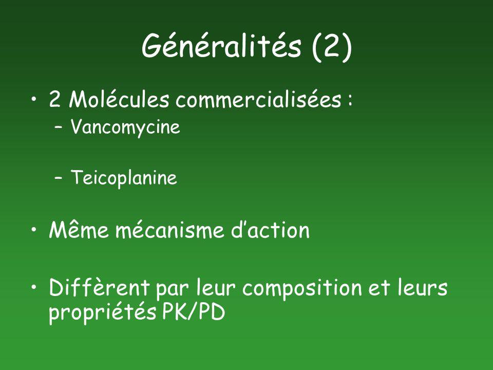 Généralités (2) 2 Molécules commercialisées : Même mécanisme d'action