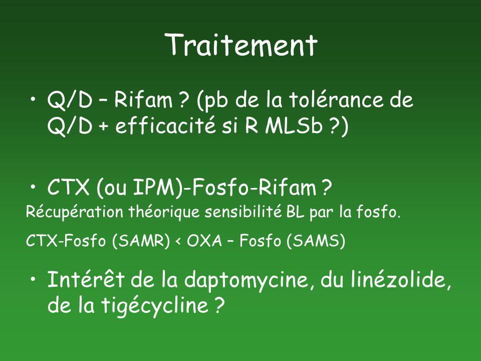 Traitement Q/D – Rifam (pb de la tolérance de Q/D + efficacité si R MLSb ) CTX (ou IPM)-Fosfo-Rifam