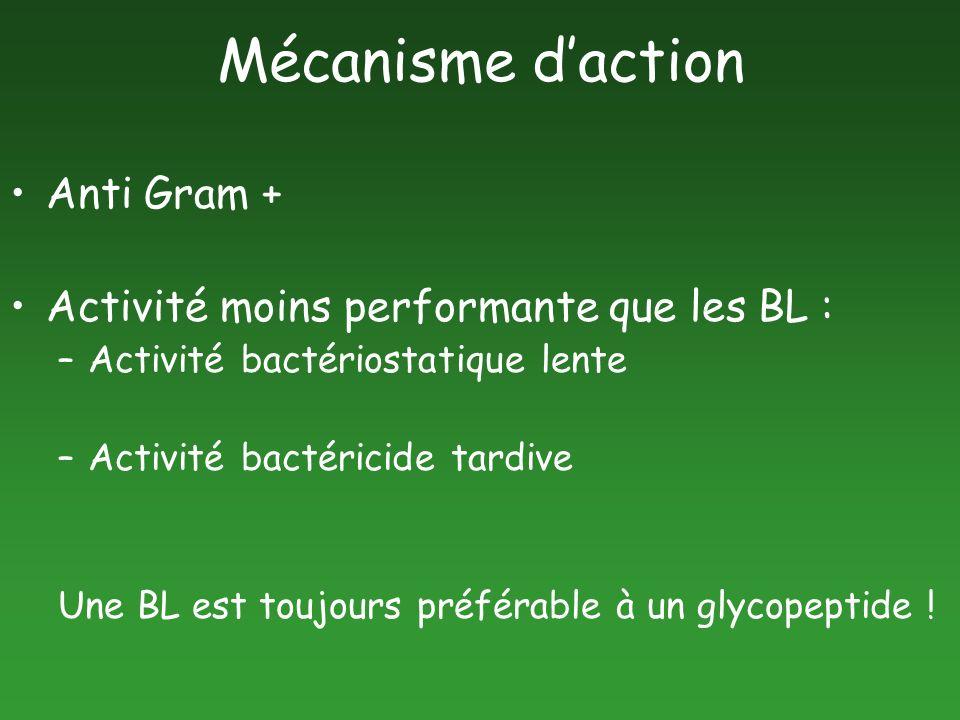 Mécanisme d'action Anti Gram + Activité moins performante que les BL :