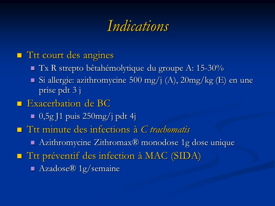 Indications Ttt court des angines Exacerbation de BC
