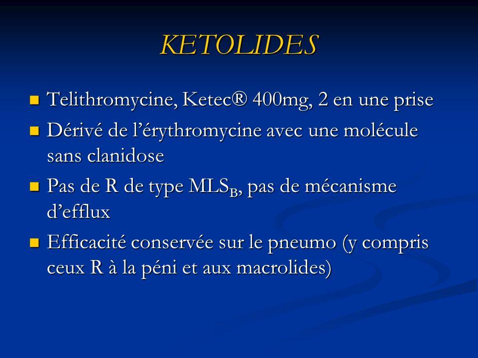 KETOLIDES Telithromycine, Ketec® 400mg, 2 en une prise