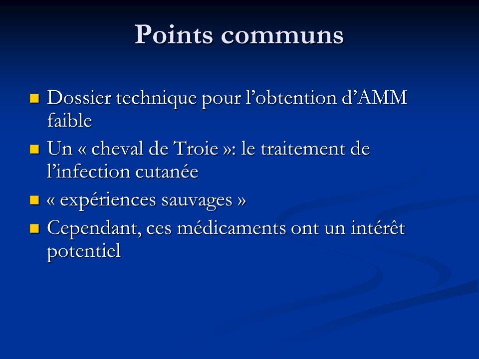 Points communs Dossier technique pour l'obtention d'AMM faible