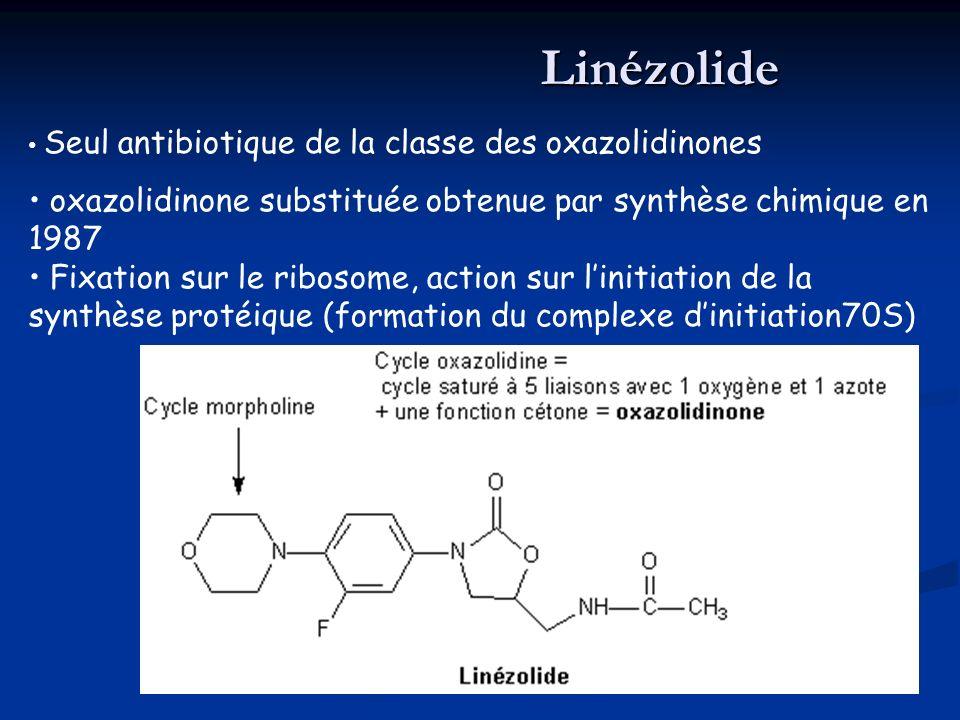 Linézolide Seul antibiotique de la classe des oxazolidinones. oxazolidinone substituée obtenue par synthèse chimique en 1987.