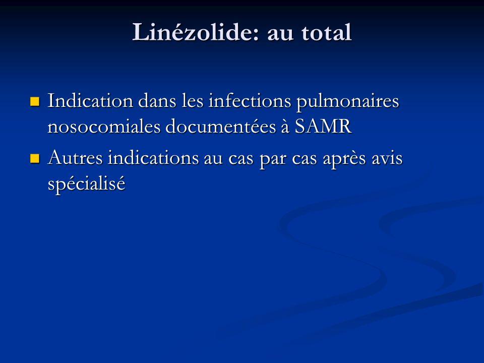 Linézolide: au total Indication dans les infections pulmonaires nosocomiales documentées à SAMR.