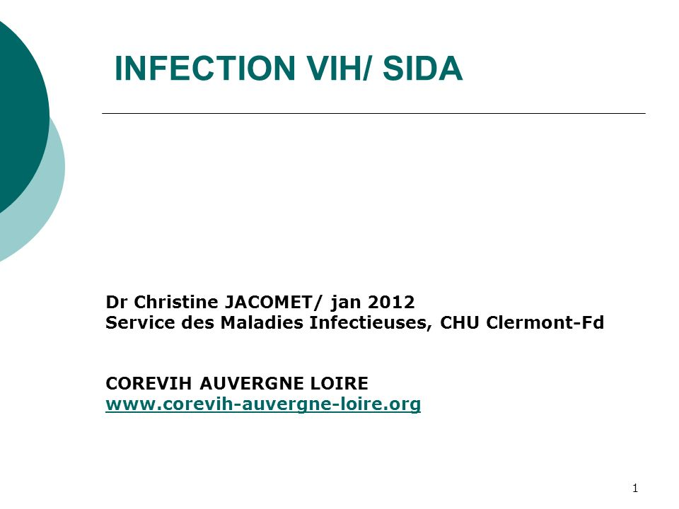 INFECTION VIH/ SIDA Dr Christine JACOMET/ jan 2012