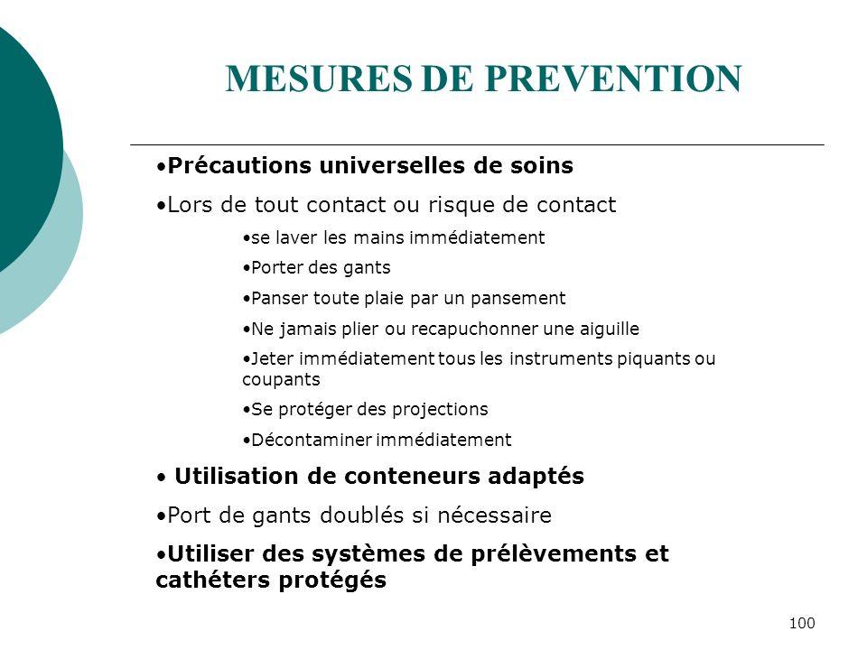 MESURES DE PREVENTION Précautions universelles de soins