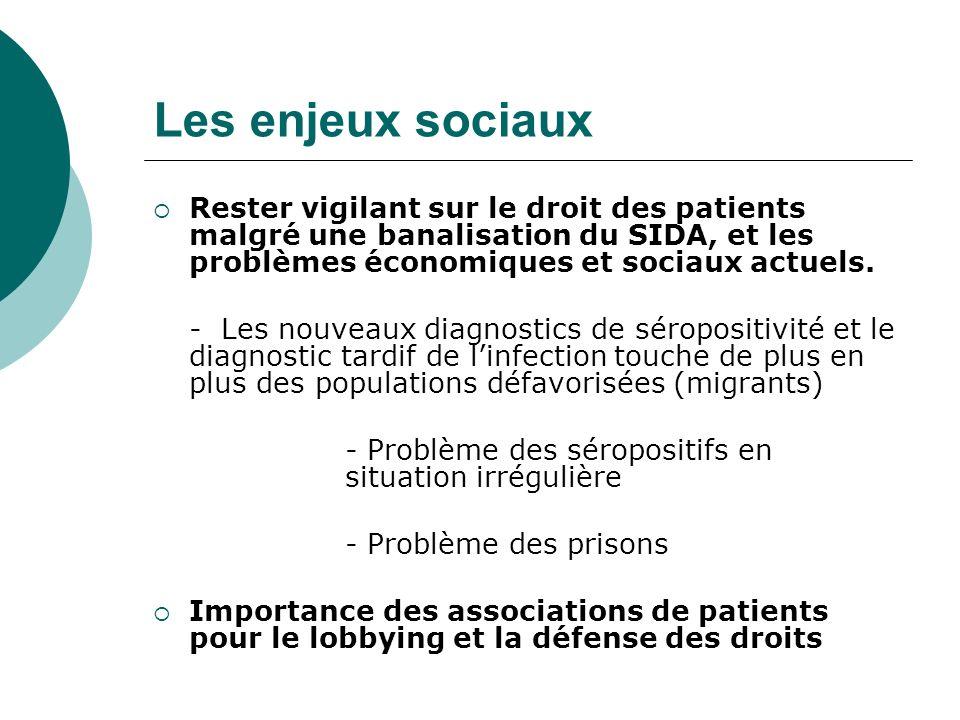 Les enjeux sociaux Rester vigilant sur le droit des patients malgré une banalisation du SIDA, et les problèmes économiques et sociaux actuels.